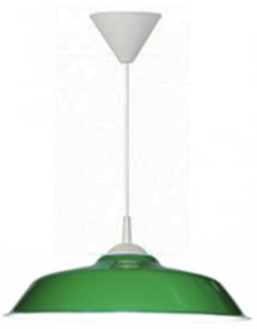 """Luminária Chapéu Chinês 12"""" Verde c/ Pendente Branco"""