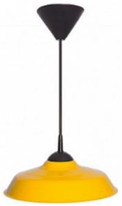 """Luminária Chapéu Chinês 16"""" Amarelo c/ Pendente Preto"""