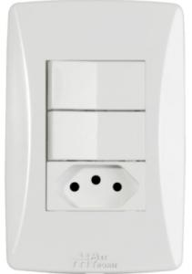 Interruptor 2 Teclas + 1 Tomada 2P+T 10A Petra – 39058