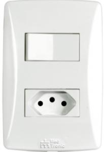 Interruptor 1 Tecla + 1 Tomada 2P+T 20A Petra – 39232