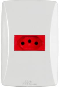 Tomada 2P+T Vermelha 20A Horizontal Petra – 39257